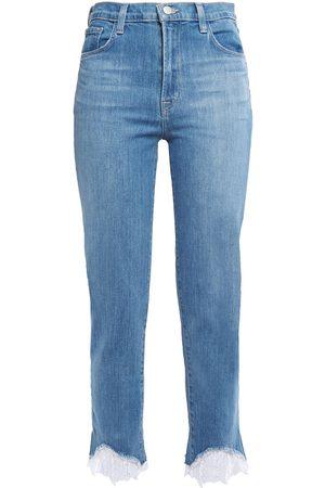J Brand Woman Cropped Lace-trimmed Mid-rise Slim-leg Jeans Light Denim Size 23