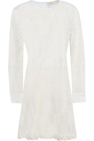 Bash Woman Aphrodite Broderie Anglaise Cotton Mini Dress Ecru Size 0
