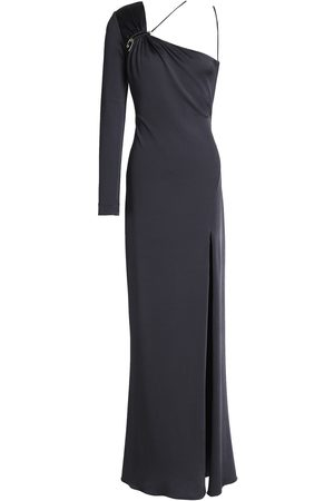 Cushnie Woman Leonora One-shoulder Ruched Satin-jersey Gown Anthracite Size 6