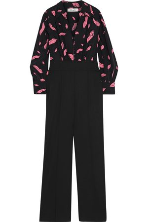 Diane von Furstenberg Women Jumpsuits - Woman June Printed Silk Crepe De Chine And Wool-blend Cady Jumpsuit Size 0