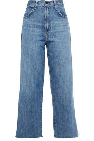 J Brand Woman Joan Cropped Metallic-trimmed High-rise Wide-leg Jeans Mid Denim Size 24