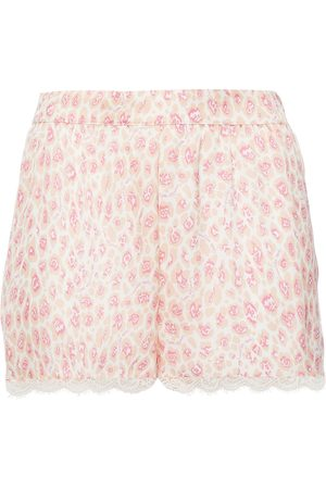 Stella McCartney Women Pajamas - Woman Tana Snooping Lace-trimmed Leopard-print Stretch-silk Satin Pajama Shorts Pastel Size L