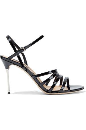 Sergio Rossi Woman Godiva Steel Patent-leather Sandals Size 36