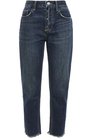 Current/Elliott Woman The Exposed Fly Cropped Distressed High-rise Slim-leg Jeans Dark Denim Size 27