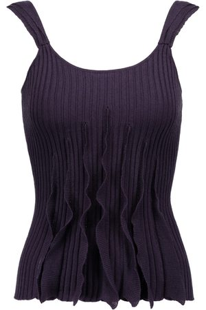 VALENTINO Woman Ruffled Ribbed Wool Silk And Cashmere-blend Tank Dark Size L