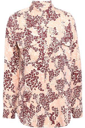 Equipment Woman Leopard-print Silk-blend Shirt Sand Size L