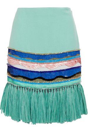 Emilio Pucci Woman Faux Raffia-trimmed Embellished Crepe Mini Skirt Mint Size 42
