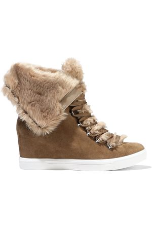 DKNY Woman Cristin Faux Fur-trimmed Suede Wedge Sneakers Taupe Size 6