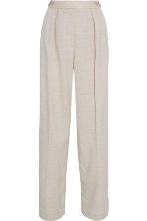 Stella McCartney Woman Katlyn Pleated Canvas Wide-leg Pants Ecru Size 36