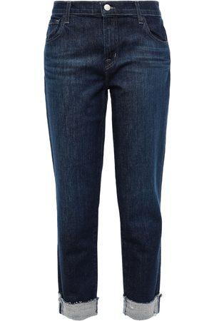 J Brand Women Boyfriend Jeans - Woman Johnny Cropped Mid-rise Boyfriend Jeans Dark Denim Size 23