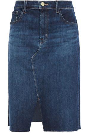 J Brand Woman Trystan Frayed Denim Skirt Dark Denim Size 23