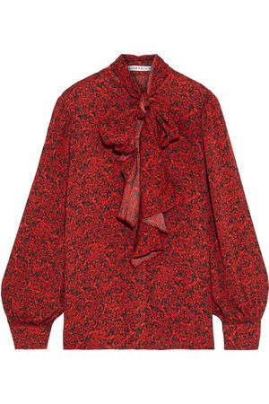 ALICE+OLIVIA Woman Tammy Pussy-bow Floral-print Crepe De Chine Blouse Size L