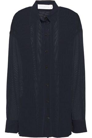 Victoria Beckham Woman Paneled Tulle Shirt Midnight Size 1