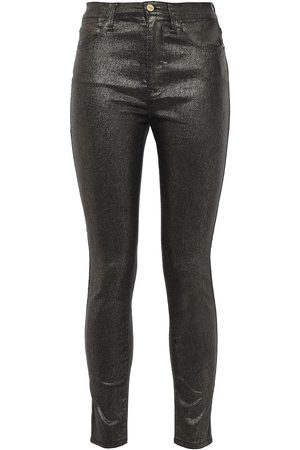 Frame Woman Le High Skinny Cropped Metallic High-rise Skinny Jeans Gunmetal Size 24