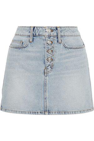 Current/Elliott Woman The Zig-zag Studded Denim Mini Skirt Light Denim Size 23