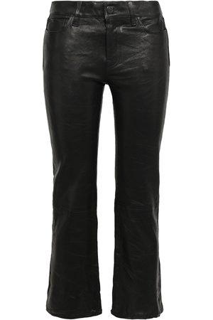 J Brand Women Leather Pants - Woman Selena Cropped Leather Bootcut Pants Size 30