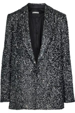ALICE+OLIVIA Woman Jace Oversized Sequined Silk Blazer Gunmetal Size L