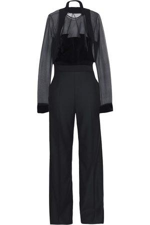 ANTONIO BERARDI Woman Wool-crepe Velvet And Silk-organza Jumpsuit Size 42