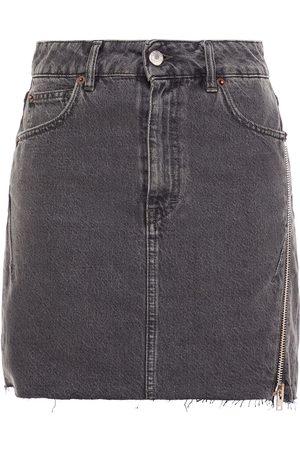 IRO Women Mini Skirts - Woman Emiel Zip-detailed Denim Mini Skirt Charcoal Size 34