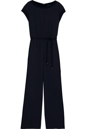 Max Mara Woman Crepe De Chine-trimmed Stretch-jersey Wide-leg Jumpsuit Midnight Size 40