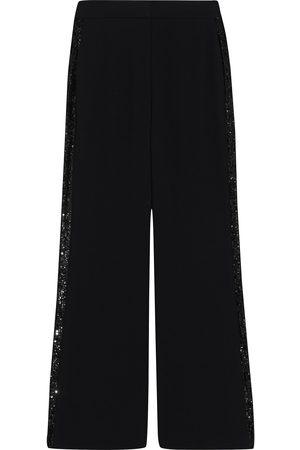 Diane von Furstenberg Woman Shane Sequined Mesh-trimmed Crepe Wide-leg Pants Size 0