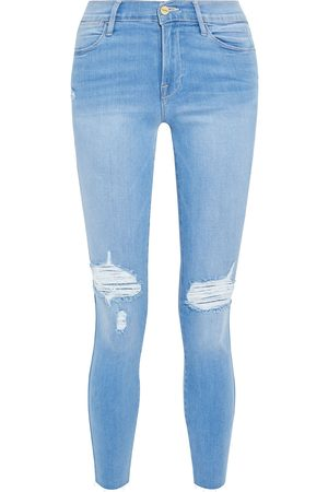 Frame Woman Le High Skinny Crop Distressed High-rise Skinny Jeans Light Denim Size 24