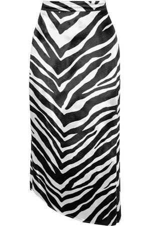 Michelle Mason Women Printed Skirts - Woman Asymmetric Zebra-print Velvet Midi Skirt Size 0