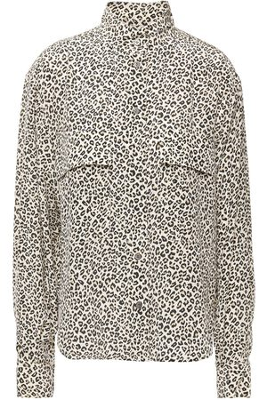 Frame Woman Leopard-print Silk Crepe De Chine Shirt Animal Print Size L