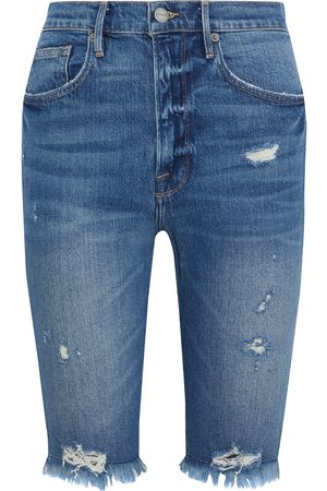 Frame Women Bermudas - Woman Le Vintage Bermuda Distressed Denim Shorts Mid Denim Size 23