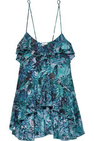 La Perla Woman Petal Storm Ruffled Floral-print Stretch-silk Chemise Teal Size 36