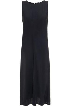 Vince Woman Asymmetric Crinkled Satin-twill Midi Dress Size L