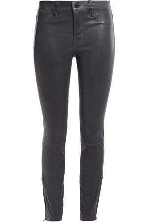 J Brand Women Leather Pants - Woman L8001 Stretch-leather Skinny Pants Dark Size 25