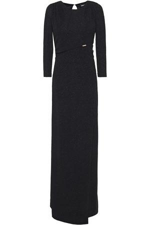 Roberto Cavalli Woman Wrap-effect Glittered Stretch-knit Maxi Dress Size 42