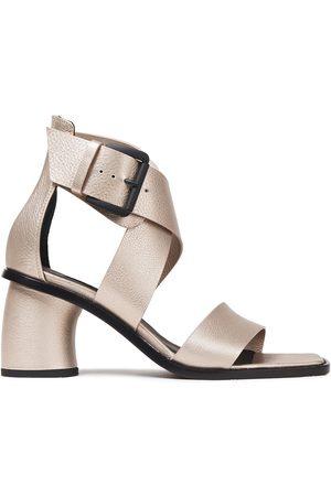ANN DEMEULEMEESTER Woman Metallic Pebbled-leather Sandals Platinum Size 35