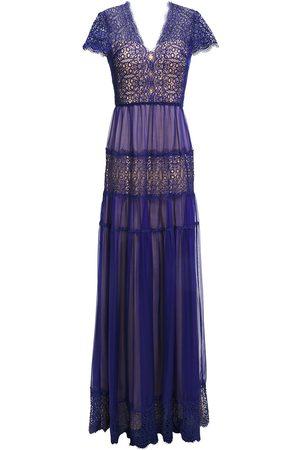 Catherine Deane Woman Nyree Lace-paneled Gathered Chiffon Gown Royal Size 10