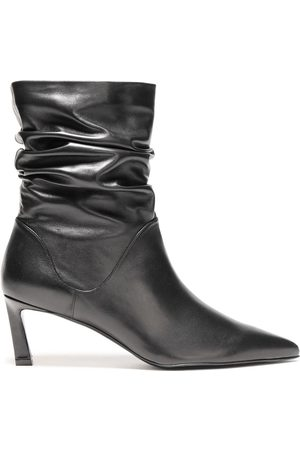 Stuart Weitzman Woman Gathered Leather Ankle Boots Size 41.5