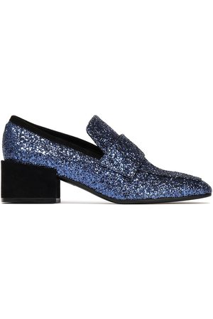 Stuart Weitzman Woman Suede-trimmed Glittered Leather Loafers Navy Size 37