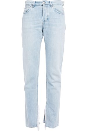 Ganni Women Straight - Woman Fringed Mid-rise Straight-leg Jeans Light Denim Size 28