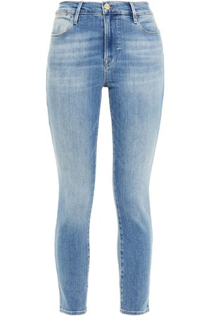Frame Woman Le High Skinny Cropped High-rise Skinny Jeans Light Denim Size 24