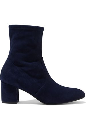 Stuart Weitzman Women Heeled Boots - Woman Siggy 60 Stretch-suede Sock Boots Navy Size 35.5