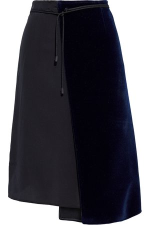 Maison Margiela Women Midi Skirts - Woman Wrap-effect Felt And Silk Crepe De Chine Skirt Size 38