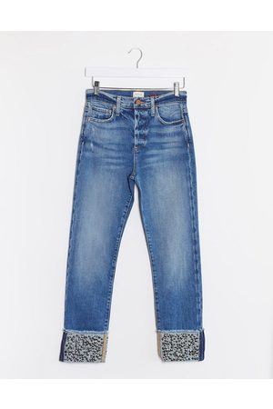 ALICE+OLIVIA Jeans high rise girlfriend jeans with sequin cuff in