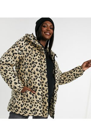 Pieces Maternity Padded coat with belted waist in leopard-Multi