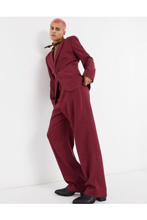 ASOS Wide Leg Pants - Wide leg suit pants in burgundy twill