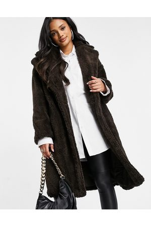 QED London Women Fleece Jackets - Oversized teddy fleece coat in chocolate