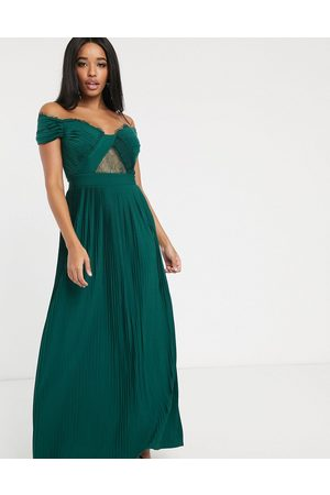ASOS Fuller Bust premium lace and pleat off-the-shoulder maxi dress in forest