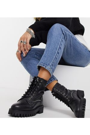 ASRA Exclusive Billie lace-up flat boots with stitch detail in leather