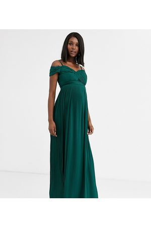 ASOS ASOS DESIGN Maternity lace and pleat off-the-shoulder maxi dress in forest