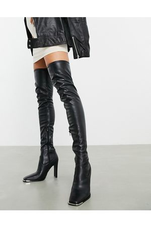 ASOS Kieran square toe thigh high boots with metal trim in