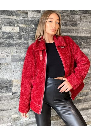 QED London Faux-fur aviator jacket in